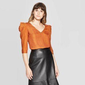 NEW Leopard Print Elbow-Sleeve V-Neck Blouse XXL